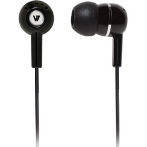 V7 EARBUDS HA110-BLK-12EB WITH INLINE MIC BLAK 3.5MM PLUG FOR MOBILE DEVICES IN